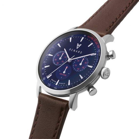 Renard horloge blauw met lederen band